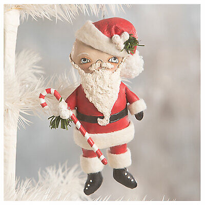 "5.25"" Bethany Lowe Santa Candy Cane Retro Vntg Christmas Tree Ornament Decor"