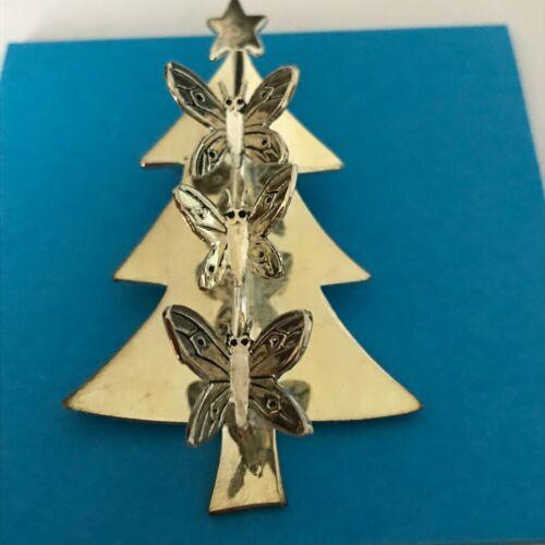 Emilia Castillo signed Butterfly Xmas Tree Scarf Clip silver plate Mexico