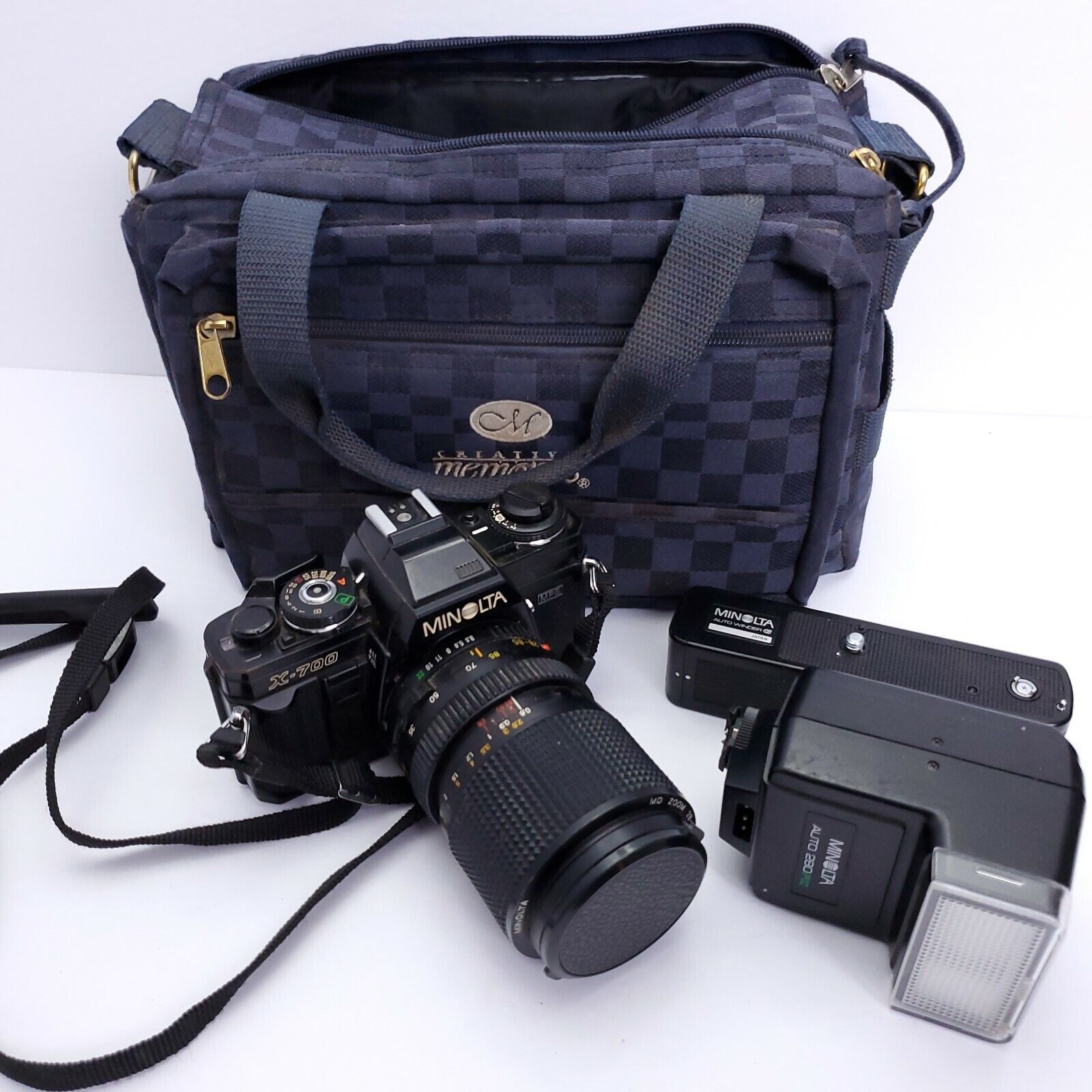 Minolta X-700 SLR 35mm Film Camera Kit 28-85mm Zoom Lens Flash Winder Bag As-Is - $115.88