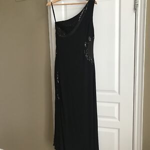 Long black cold shoulder formal dress