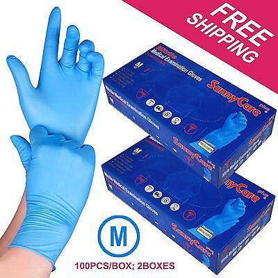 200 /2boxes Blue Nitrile Medical Exam Gloves Powder Free (Non Vinyl Latex)MEDIUM