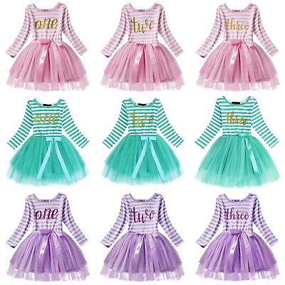 Baby Birthday Dress Girls Party Outfit Kids Princess Toddler 1st 2nd 3rd Bday ](Toddler Girl 3rd Birthday Outfits)