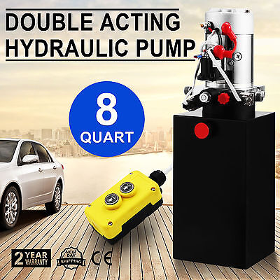 8 Quart Double Acting Hydraulic Pump Dump Trailer Crane Reservoir Lifting