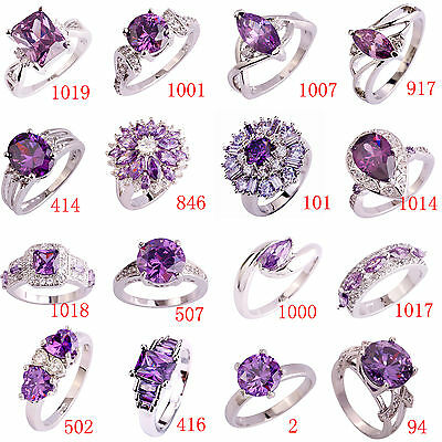 Clearance Sale Fashion Amethyst & White Topaz Gemstone Silver Ring Size 6-13  ()