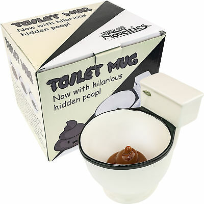 Ceramic Toilet Coffee Tea Mug – Gag Gift Novelty Cup Bowl Now With Hidden Poop Dinnerware & Serveware