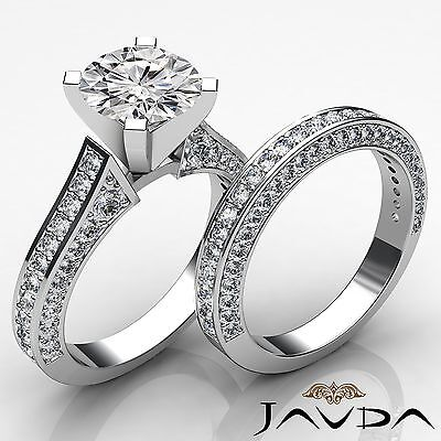 Cathedral Style Round Diamond Engagement Pave Bridal Set Ring GIA I SI1 3.2 Ct