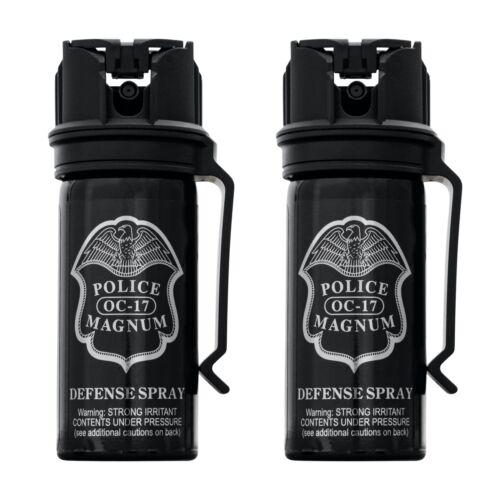 Police Magnum Pepper Spray 2 PCK 2oz Stream Flip Top Belt Clip Self Defense OC