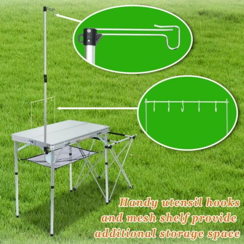 Portable Camping Kitchen Folding Table Portable Grill Stand Table Handle/Storage