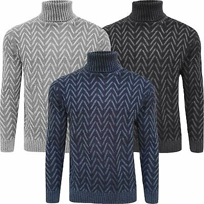 Mens Warm Knitted Weaved Roll Turtle Neck Wool Blend Pullover Sweater Jumper