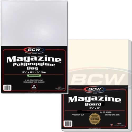 BCW Resealable Magazine Bags Boards Lot Regular Sleeves Backing Backer Standard