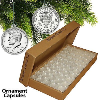 25 Direct Fit T30 CHRISTMAS ORNAMENT Coin Capsules w/Hangers for JFK HALF DOLLAR