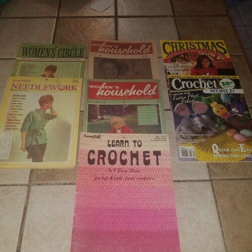 Lot Of 7 Vintage Knitting Crochet Needlework Books Magazines Craft