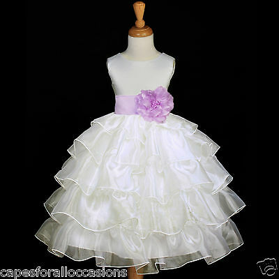 IVORY ORGANZA FORMAL SASH FLOWER GIRL DRESS PAGEANT GOWN 12-18M 2 3 4 5 6 7 8 10 - First Communion Dress