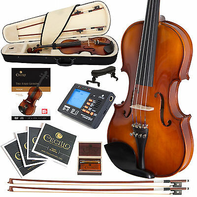 NEW CECILIO 4/4 EBONY FITTED VIOLIN +TUNER+BOOKS