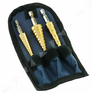 3-Pcs-Titanium-Step-Cone-Drill-Bit-Hole-Cutter-High-Speed-Steel-Tool-w-Bag-Case