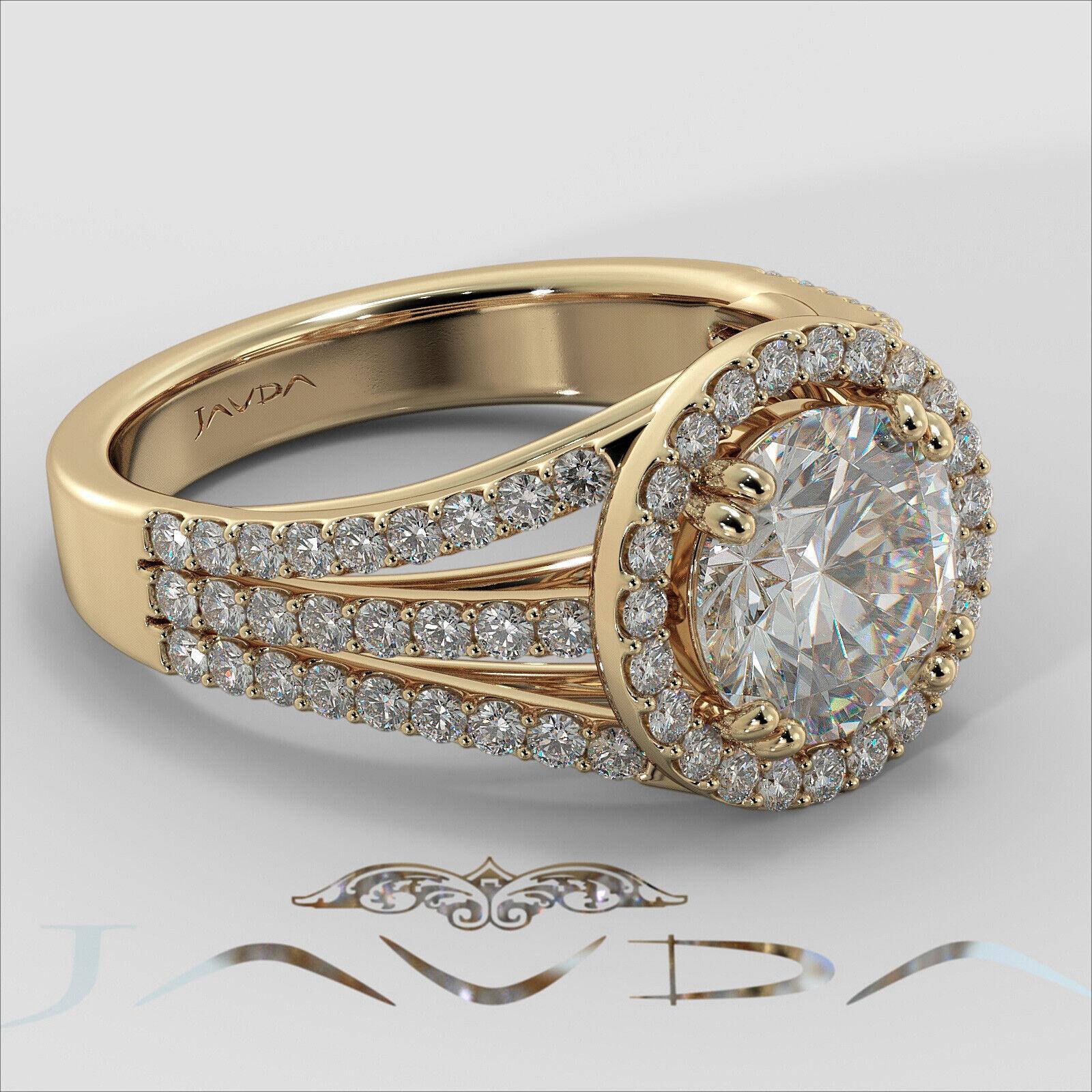 2ct Trio Shank Halo Sidestone Round Diamond Engagement Ring GIA E-VS2 White Gold 10