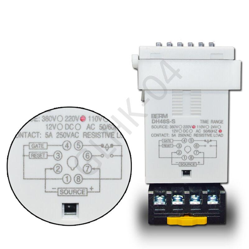 Time Delay Relay Timer DH48S-S 12V/24V/220/240V/380V With Socket Base