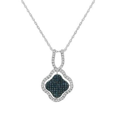 Round Cut White and Blue Natural Diamond Clover Pendant Necklace Sterling Silver