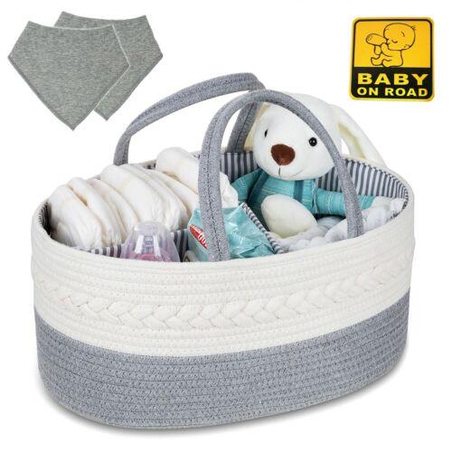 Baby Diapers Caddy Organizer, Rope Basket, Large Sturdy Storage w/ Bonus Bibs