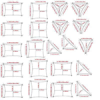 Sonnensegel Sonnenschutz HDPE 180g/m² Windschutz UV-Schutz Dreieck Rechteck