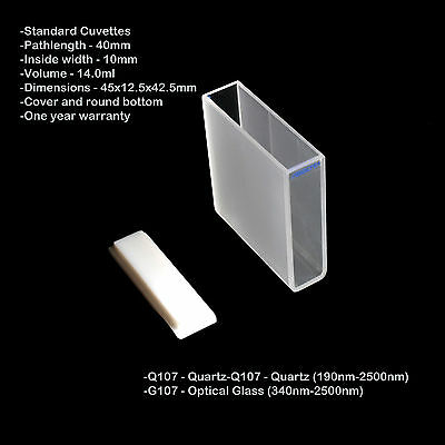 Azzota 40mm Pathlength Quartz Cuvettes - 14ml