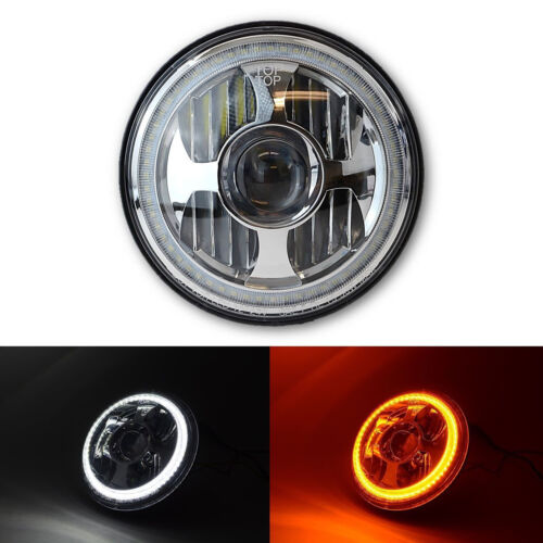 "7"" LED Projector Dual White Amber Halo Ring Light Lamp Bulb Motorcycle Headlight"