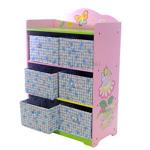 Kids Storage Unit Pink Wooden Kids Bedroom Furniture Toy Box Ebay