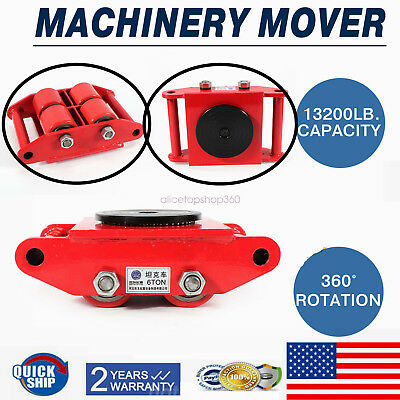 6t 13200lb Heavy Duty Machine Dolly Skate 4-roller Machinery Mover 360 Rotation
