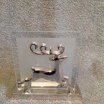 KIRKLAND 3D Reindeer Tealight Candle Holder Silver Frosted Glass Background