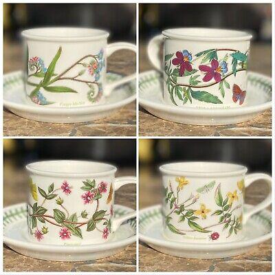 Set of 4 Portmeirion Botanic Garden Drum Flat Bottom Coffee Tea Mugs w/ Saucers