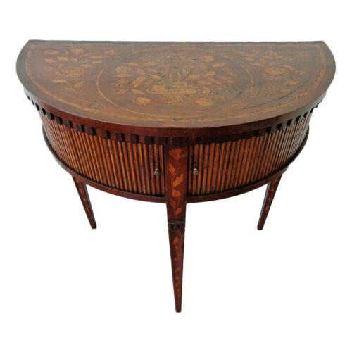 Antique Dutch Walnut Demilune Inlaid Floral Marquetry Side Table Tambour Doors