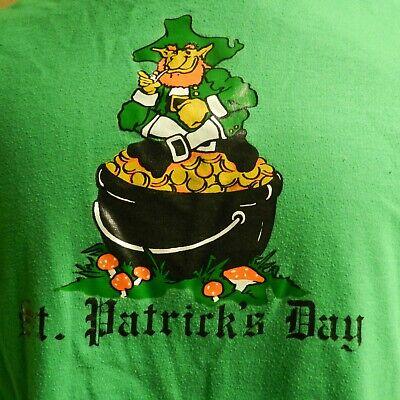 Vintage 80's St. Patricks Day Leprechaun Pot of Gold Irish Green T-Shirt S  (St Patricks Day Pot Of Gold)