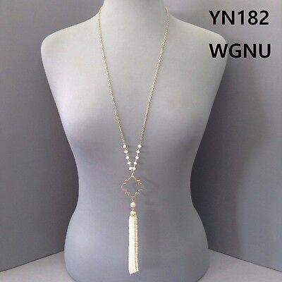 Gold Finished Open Clover Quatrefoil Shape Peach Bead Tassel Pendant Necklace