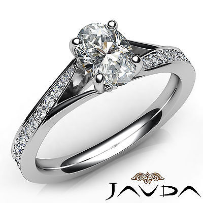 Cathedral Split Shank Pave Oval Diamond Engagement Ring GIA E Color VS2 0.85 Ct