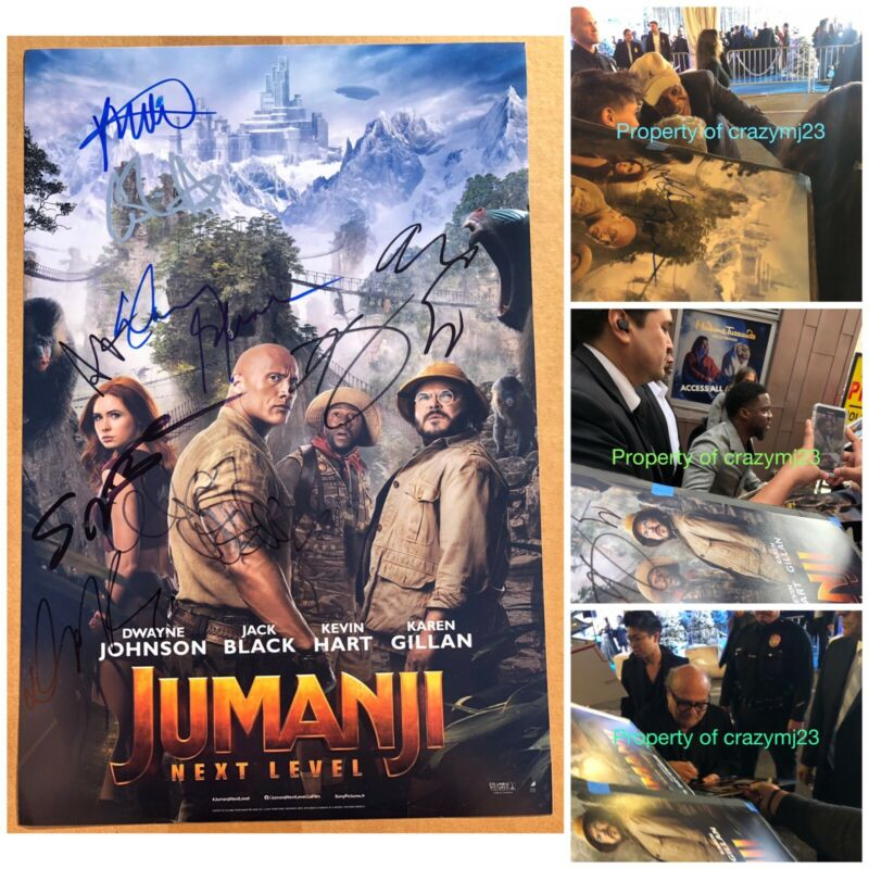 9 Signed Jumanji The Next Level Kevin Hart Danny DeVito Glover Autograph PROOF