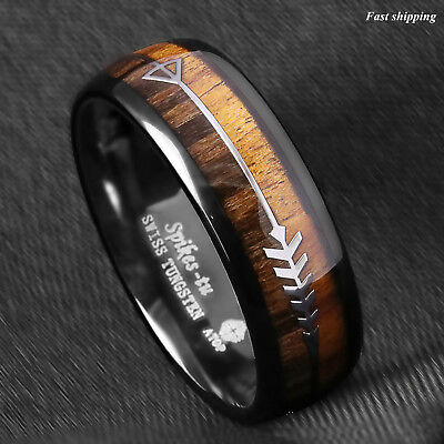 - 8/6mm Black Dome Tungsten Ring 2 Style Wood Arrow Wedding Band ATOP Men Jewelry