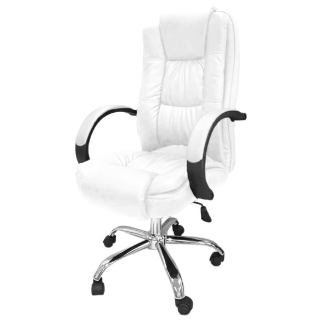 White Santana Office Chair Business Faux Leather Swivel Executive