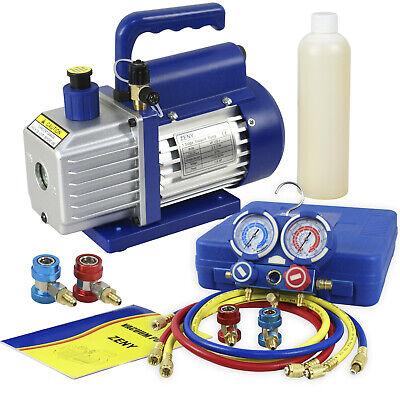 Combo Ac Manifold Gauge Set R134a R410a R22 With 35 Cfm 14hp Air Vacuum Pump