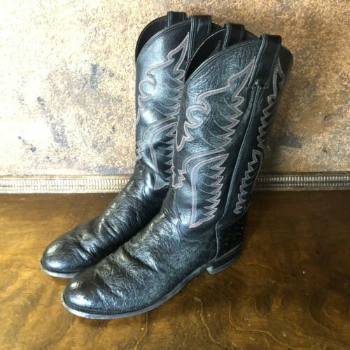Mens, JUSTIN, Black, OSTRICH, Western, Boots, ~, Shoe, Size, 9, D, Cowboy, Boot