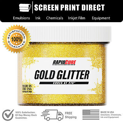 Gold Glitter - Premium Plastisol Ink For Screen Printing Low Temp Cure - 8oz