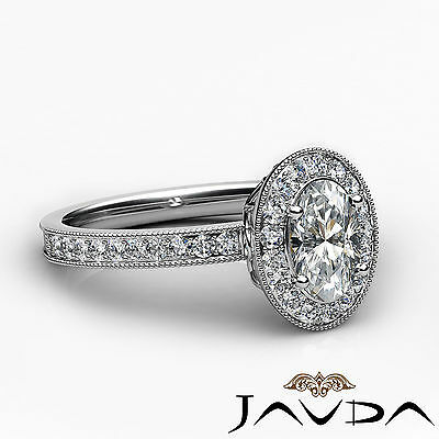 Milgrain Edge Pave Bezel Set Halo Oval Diamond Engagement Ring GIA F VVS2 1.21Ct 2
