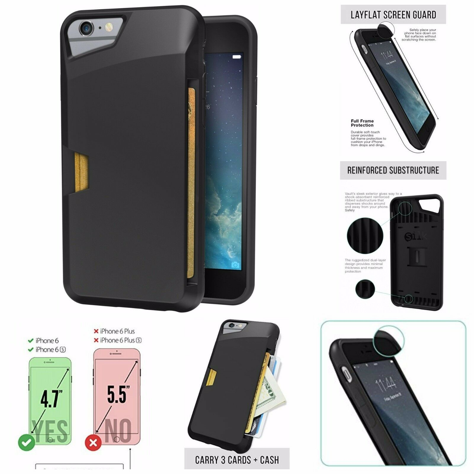 Silk iPhone 6/6s Wallet Case - VAULT Protective Credit Card