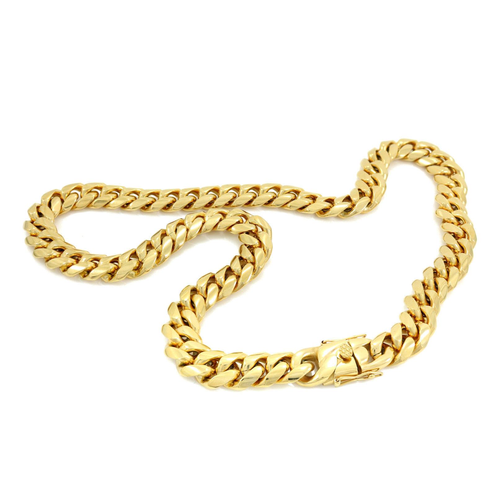 Men/'s Gold Finish Close Tight Miami Cuban Chain Bracelet Triple Box Lock 6MM