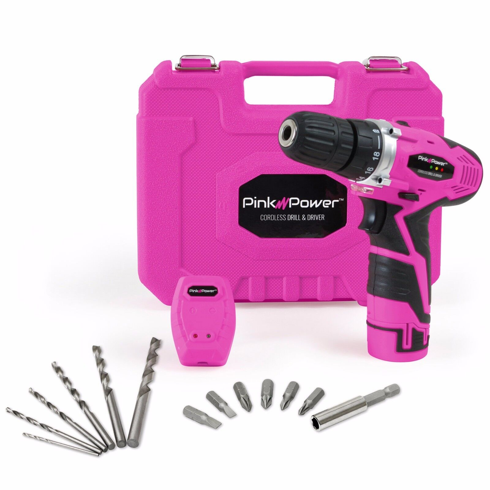 Pink Power 12 Volt Lithium Ion Cordless Drill Set Driver Kit