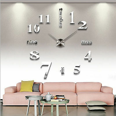 DIY Large Number Wall Clock 3D Surface Sticker Home Office Living Room Decor Art