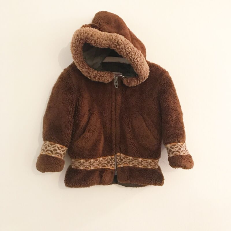 Vintage Fur Coat CEEGEE Brown Tan Winter Fuzzy Hood Toddler Child Girl Size 4 5