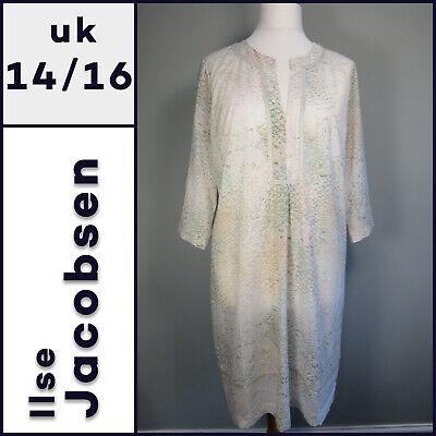 NWOT ILSE JACOBSEN Dress Size 42 (UK 14 / 16) Cream Patterned Summer Kaftan R869