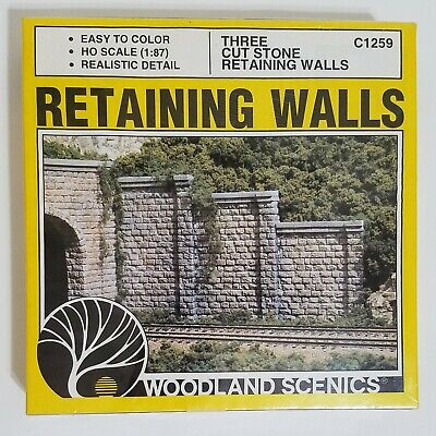 Woodland Scenics HO 3 Cut Stone Retaining Walls C1259 NEW Opened