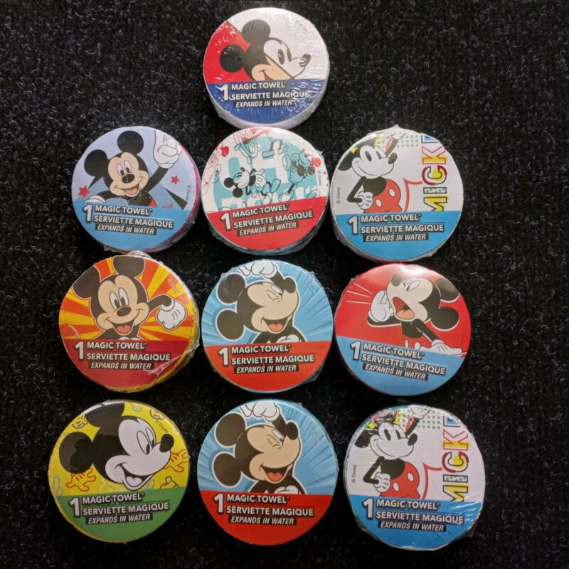 """Lot of 10 Kids DISNEY """"Magic Towel"""" Wash clothes Featuring MICKEY MOUSE, New"""