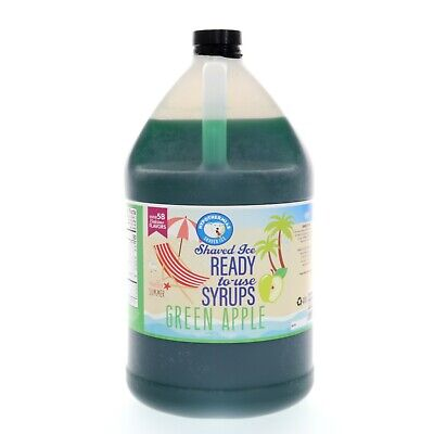 Green Apple Hawaiian Shaved Ice Or Snow Cone Syrup Gallon 128 Fl. Oz